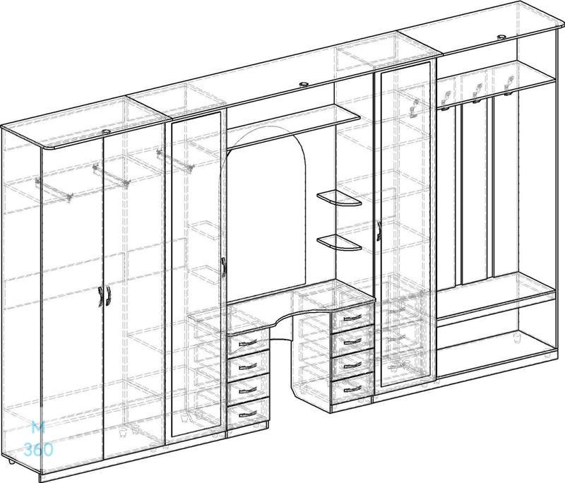 Распашной шкаф с антресолью на заказ Арт 11